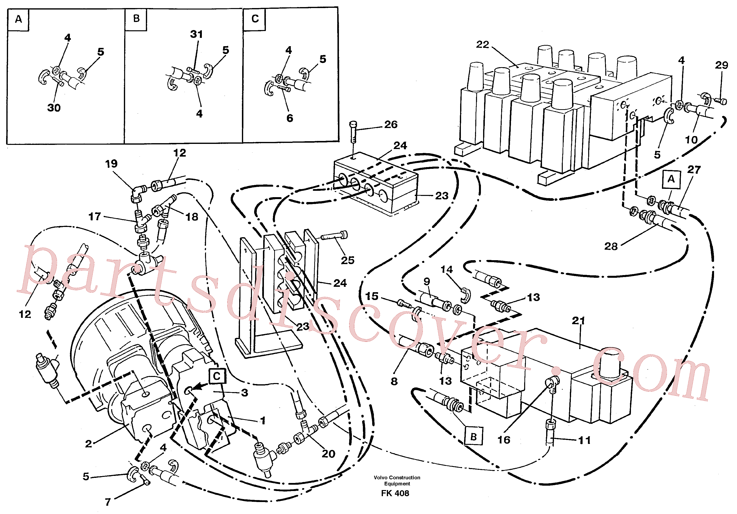 VOE14255688 for Volvo Hydraulic system, feeding lines(FK408 assembly)
