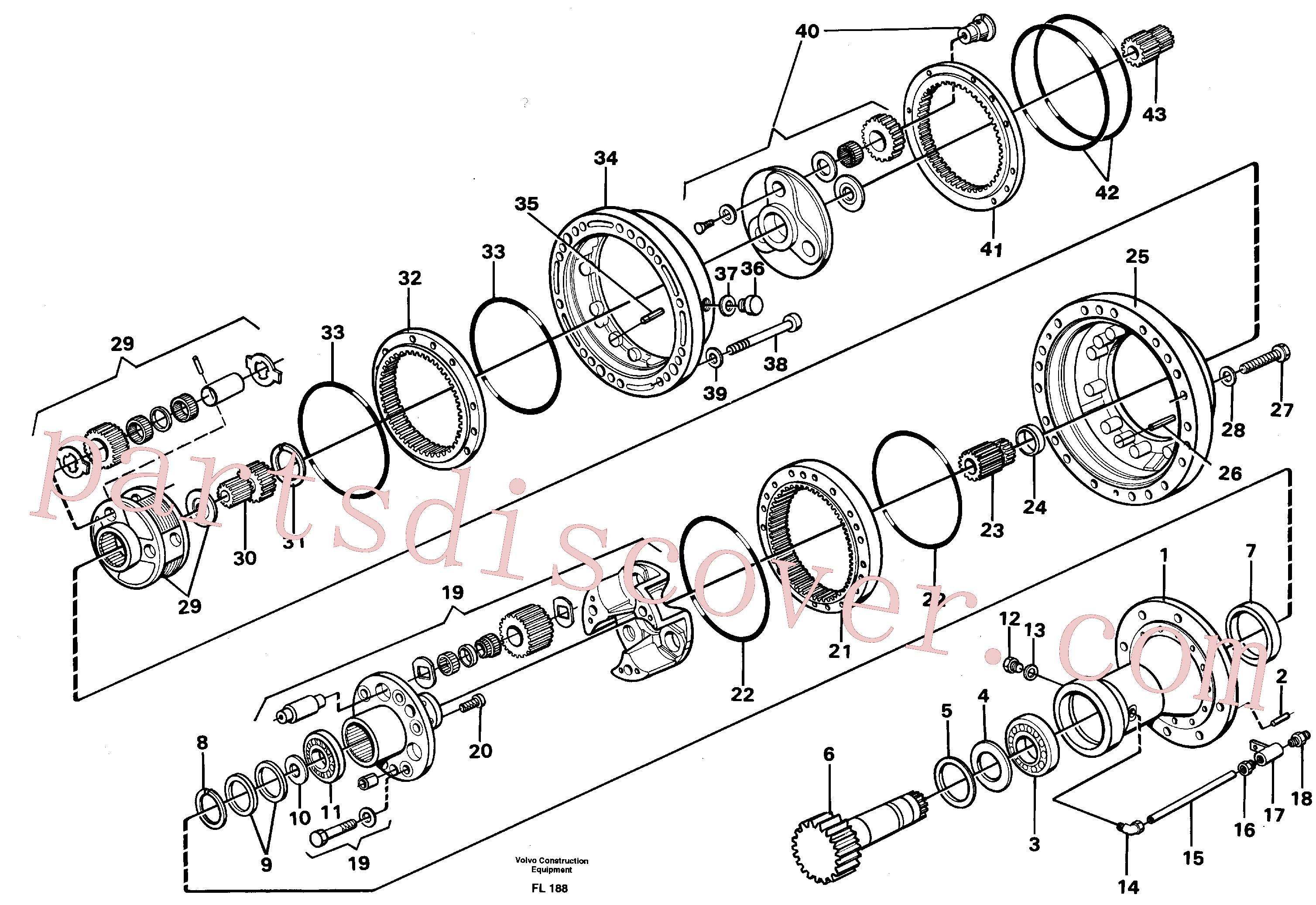 VOE11700029 for Volvo Swing gearbox(FL188 assembly)