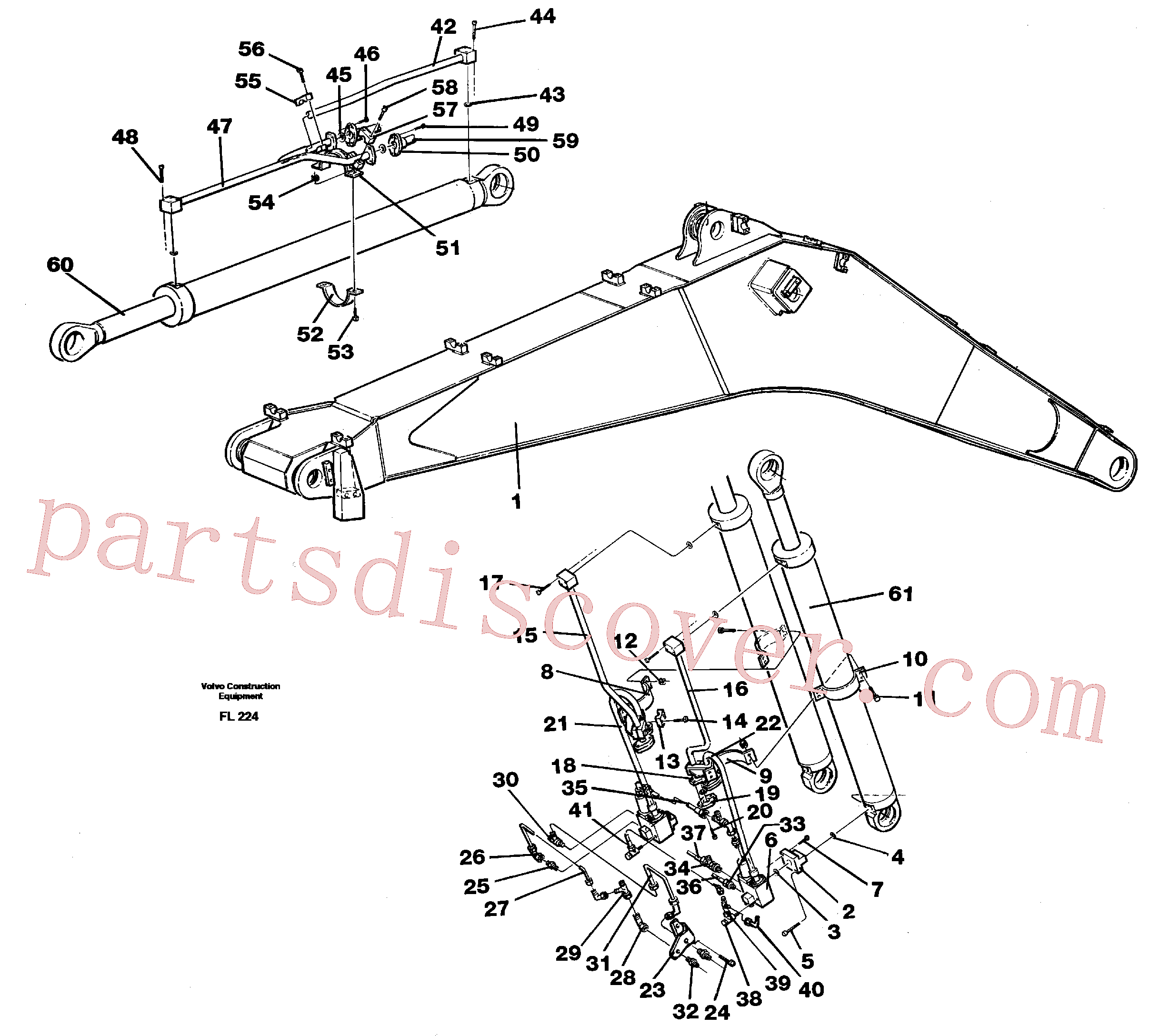 VOE14257333 for Volvo Cylinder hydraulics, backhoe boom 6.65m(FL224 assembly)