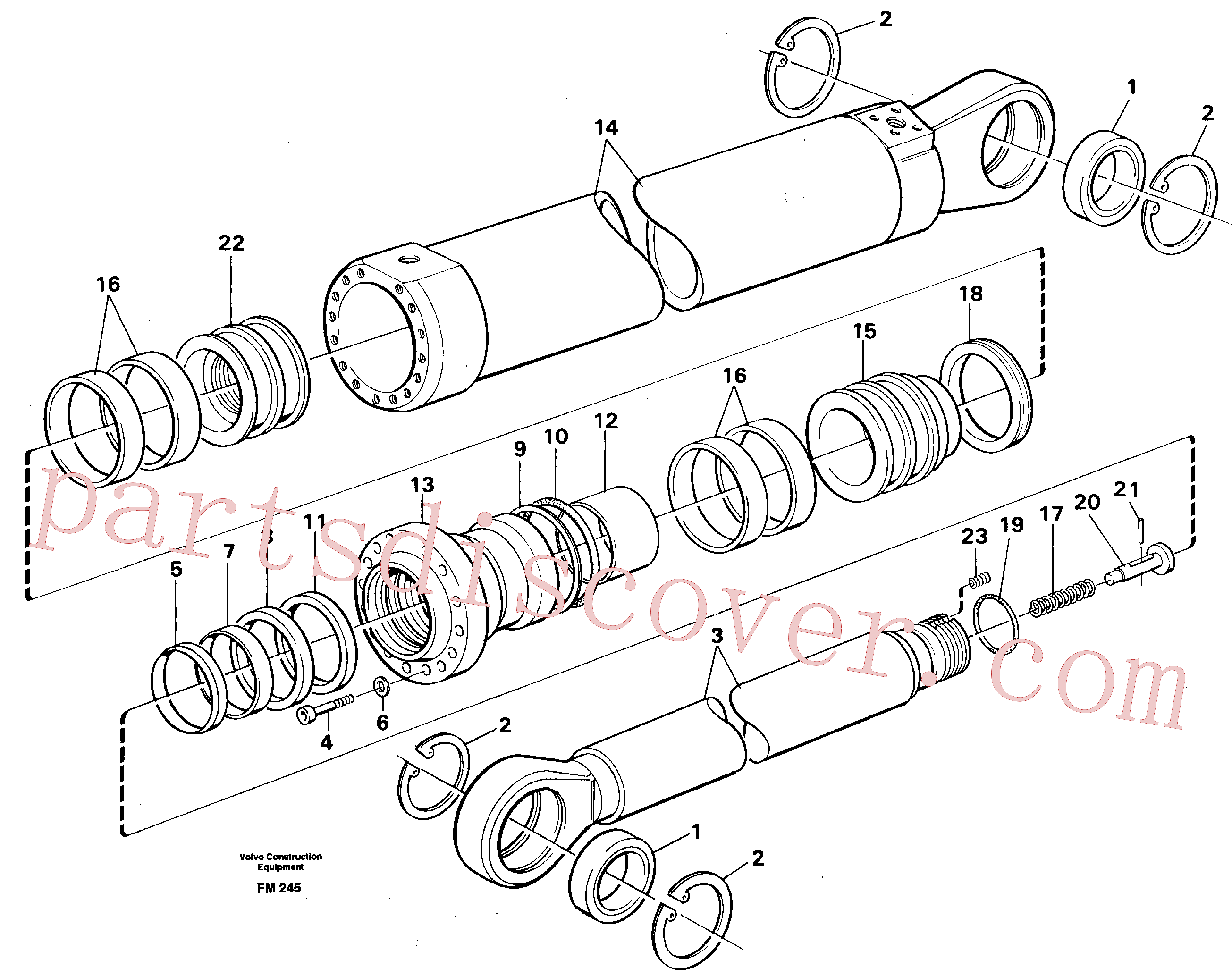 VOE14252332 for Volvo Dipper cylinder for backhoe dipper and mass excavation(FM245 assembly)