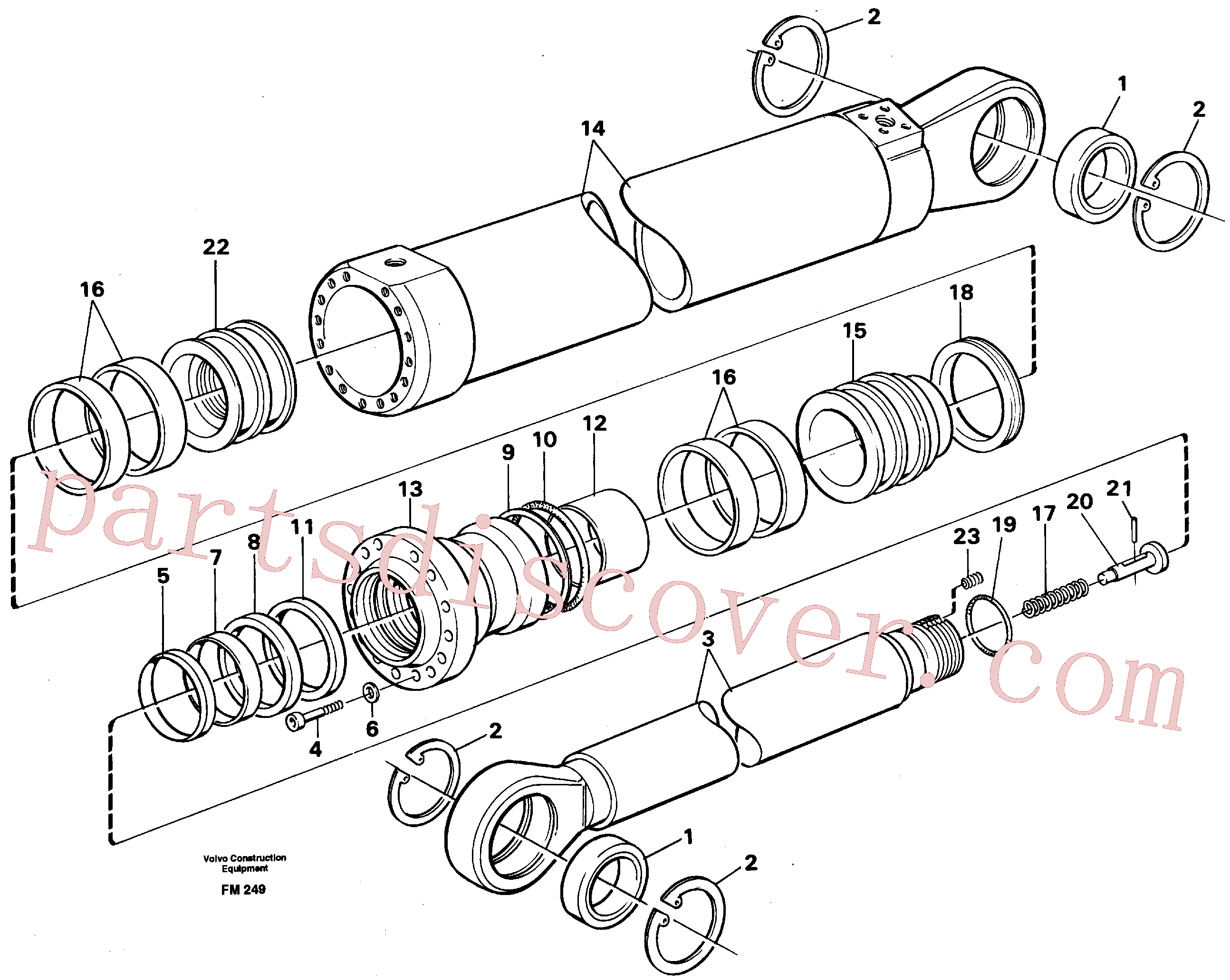 VOE14252332 for Volvo Dipper arm cylinder, material handling equipment(FM249 assembly)