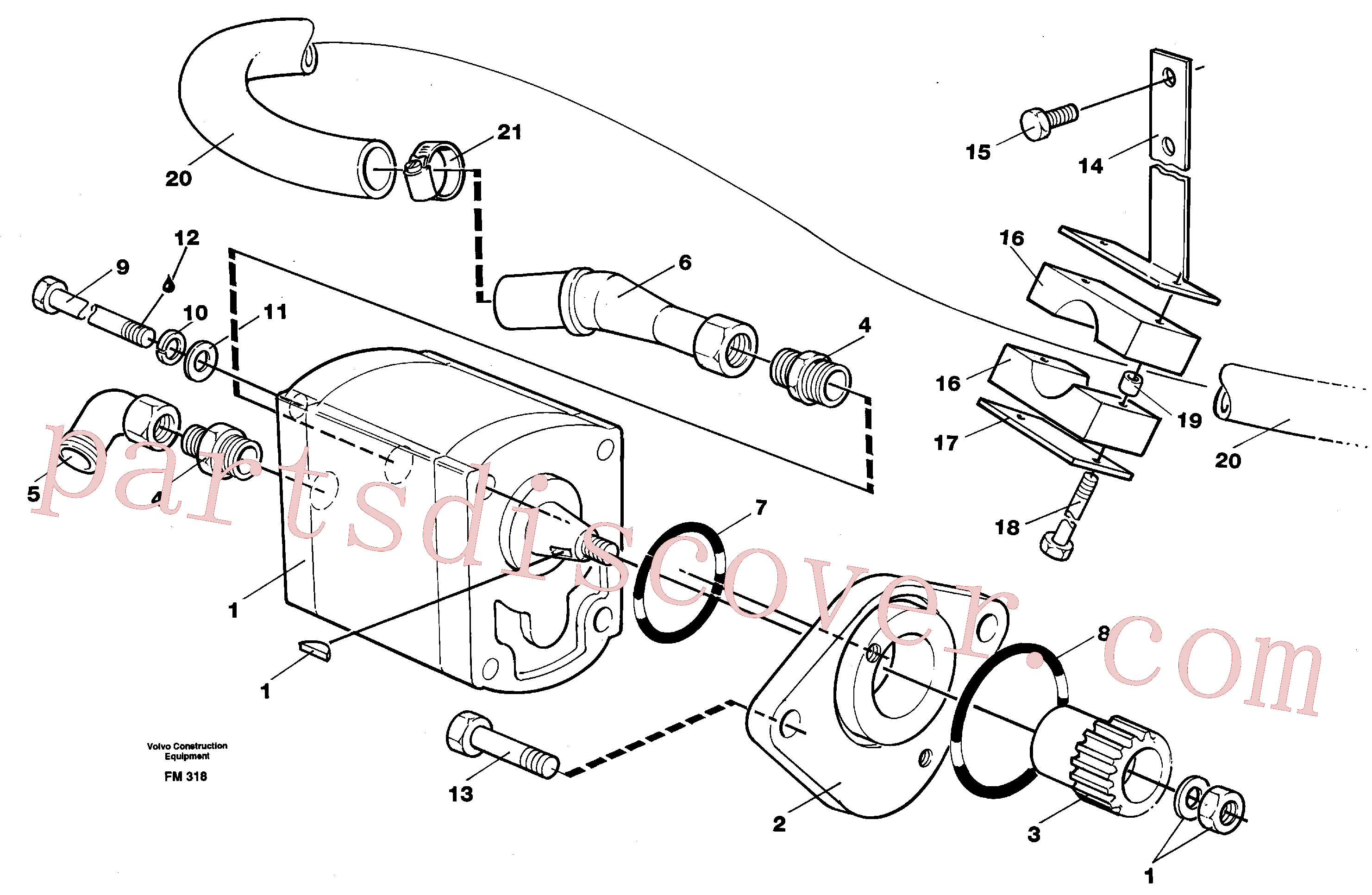 VOE14014886 for Volvo Servo pump with assembly parts(FM318 assembly)