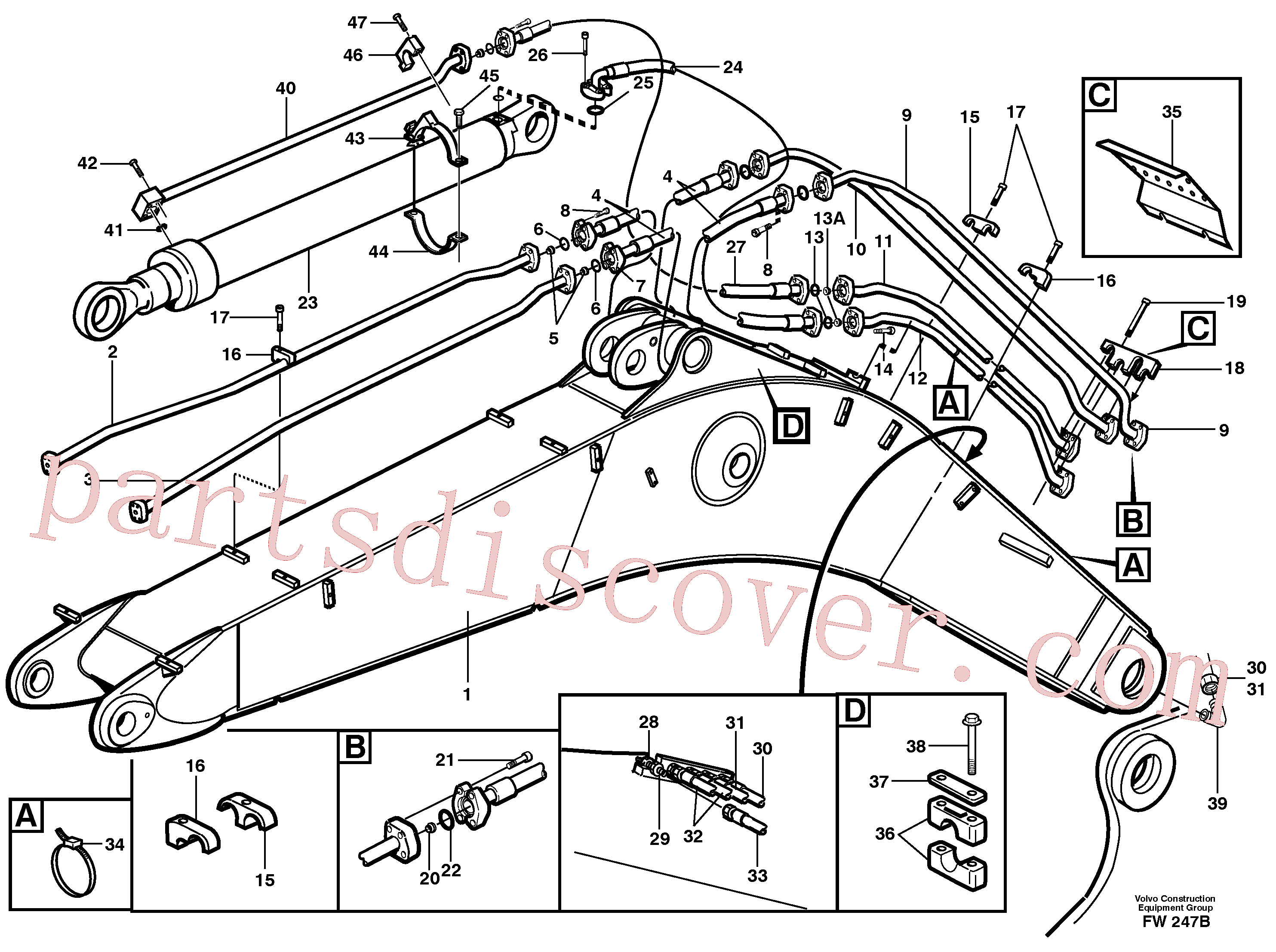 VOE14343732 for Volvo Tubes,assembly, boom(FW247B assembly)
