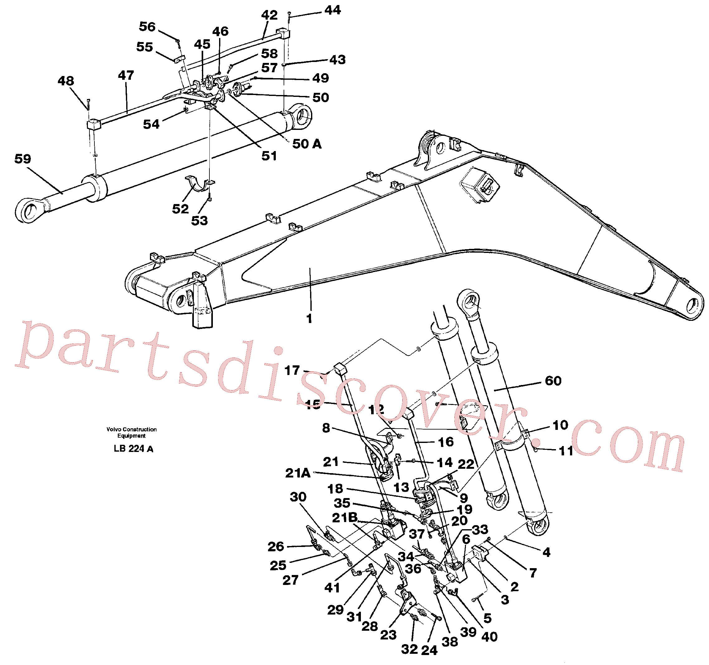 VOE14257333 for Volvo Cylinder hydraulics, backhoe boom(LB224A assembly)