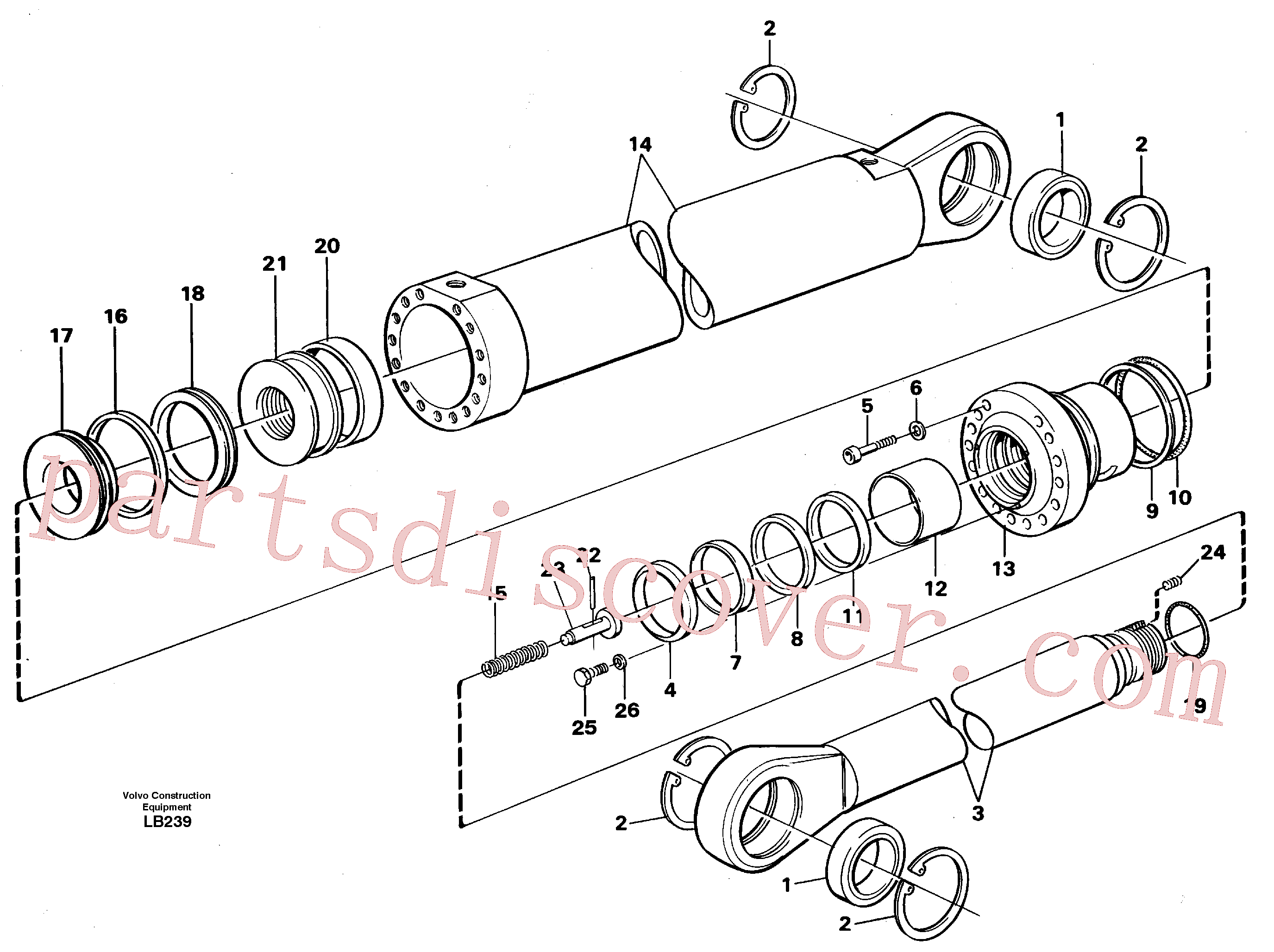 VOE14231655 for Volvo Dipper arm cylinder, material handling equipment(LB239 assembly)