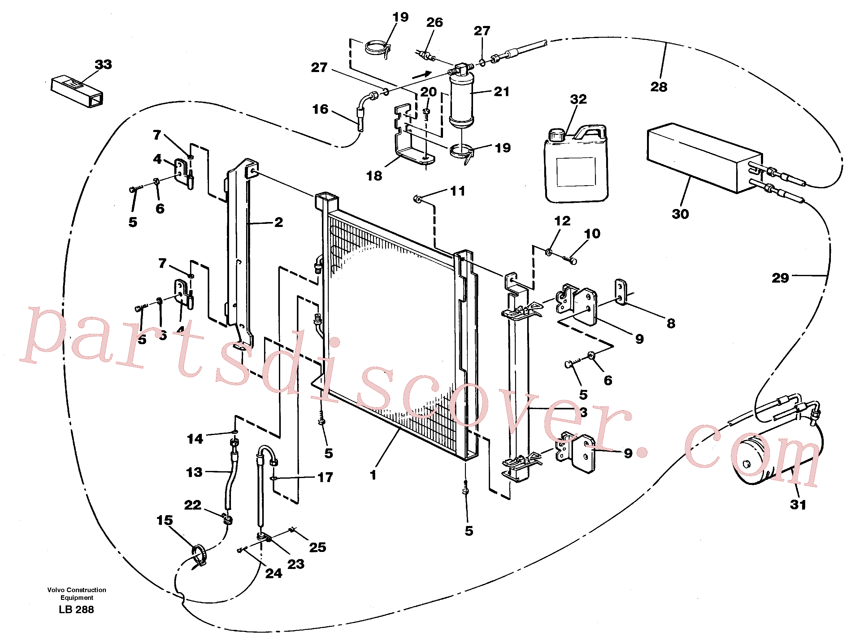 VOE14013856 for Volvo Condensor with fitting parts, cooling agent R134a(LB288 assembly)