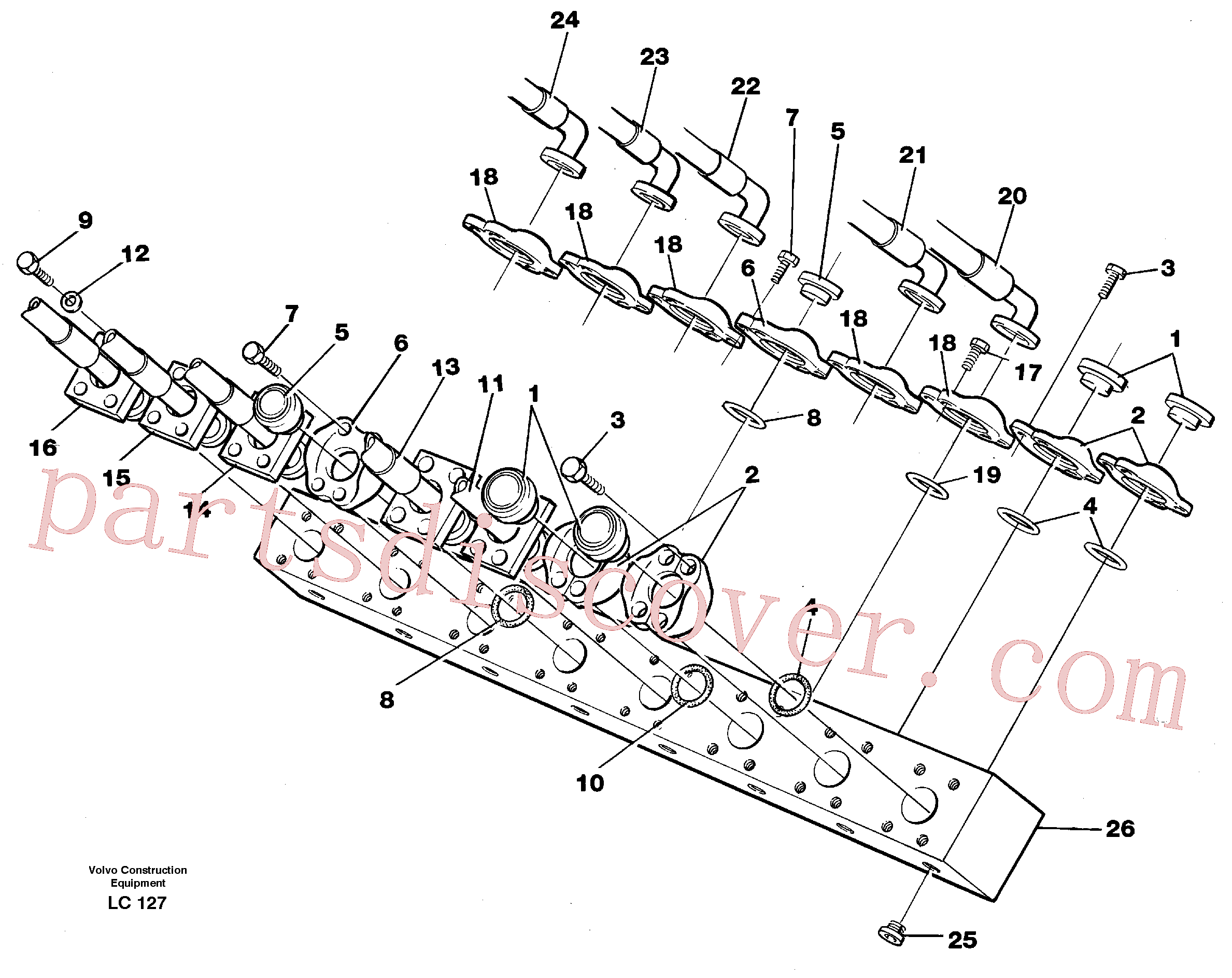 VOE14266212 for Volvo Conneection block with hoses(LC127 assembly)