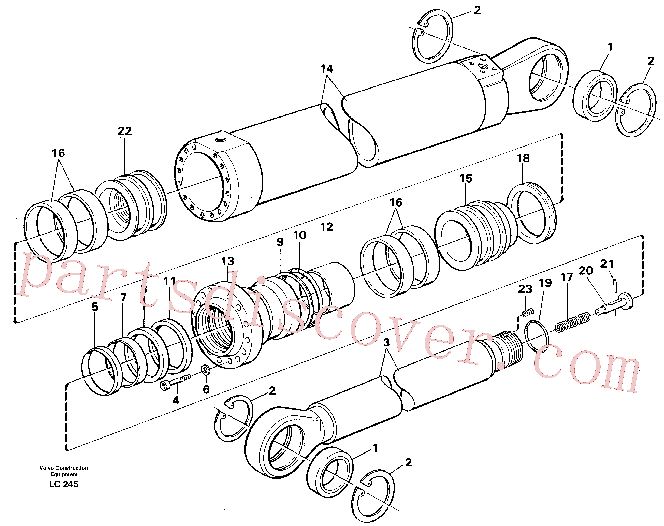 VOE14252332 for Volvo Dipper cylinder for backhoe dipper and mass excavation(LC245 assembly)