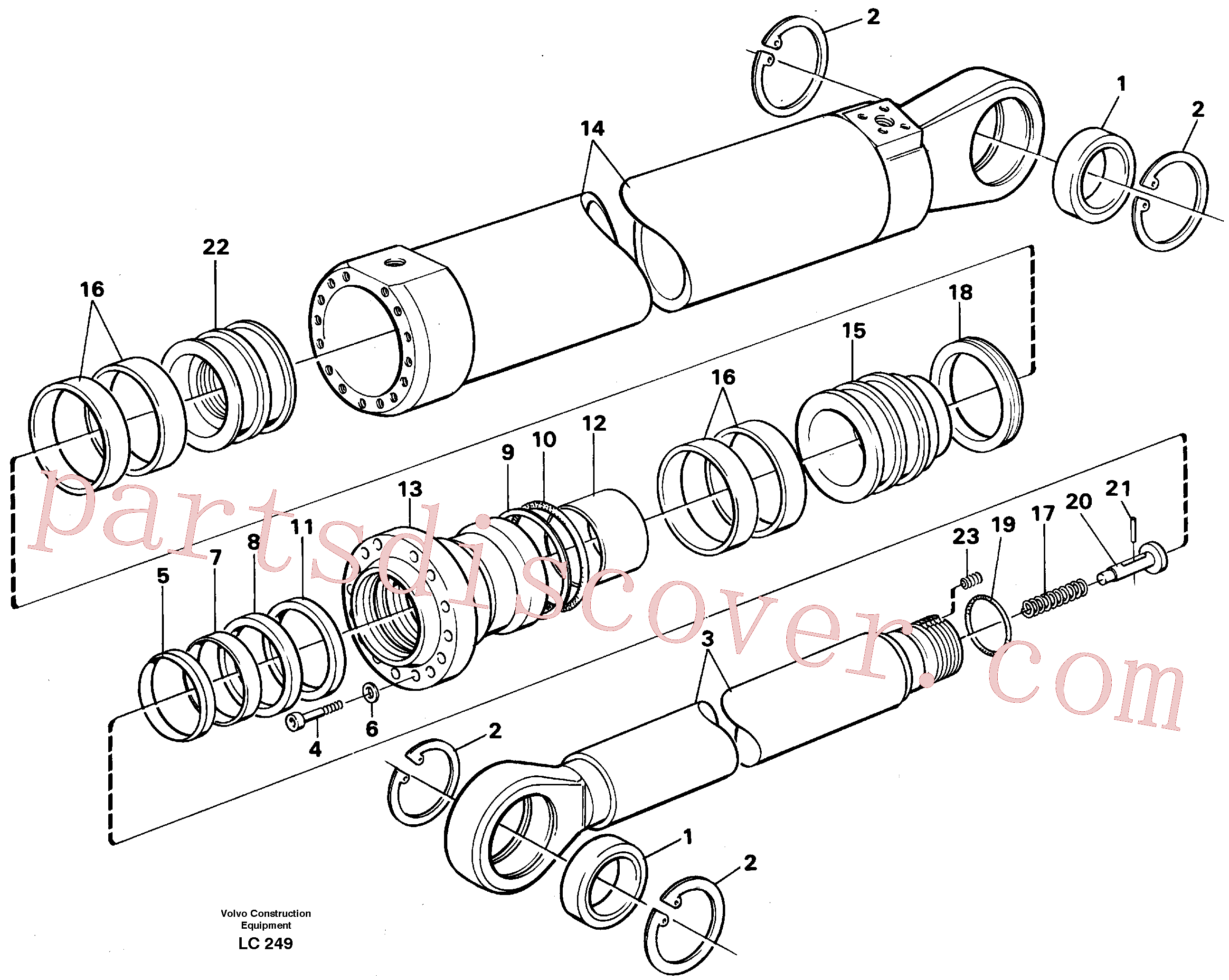 VOE14252332 for Volvo Dipper arm cylinder, material handling equipment(LC249 assembly)