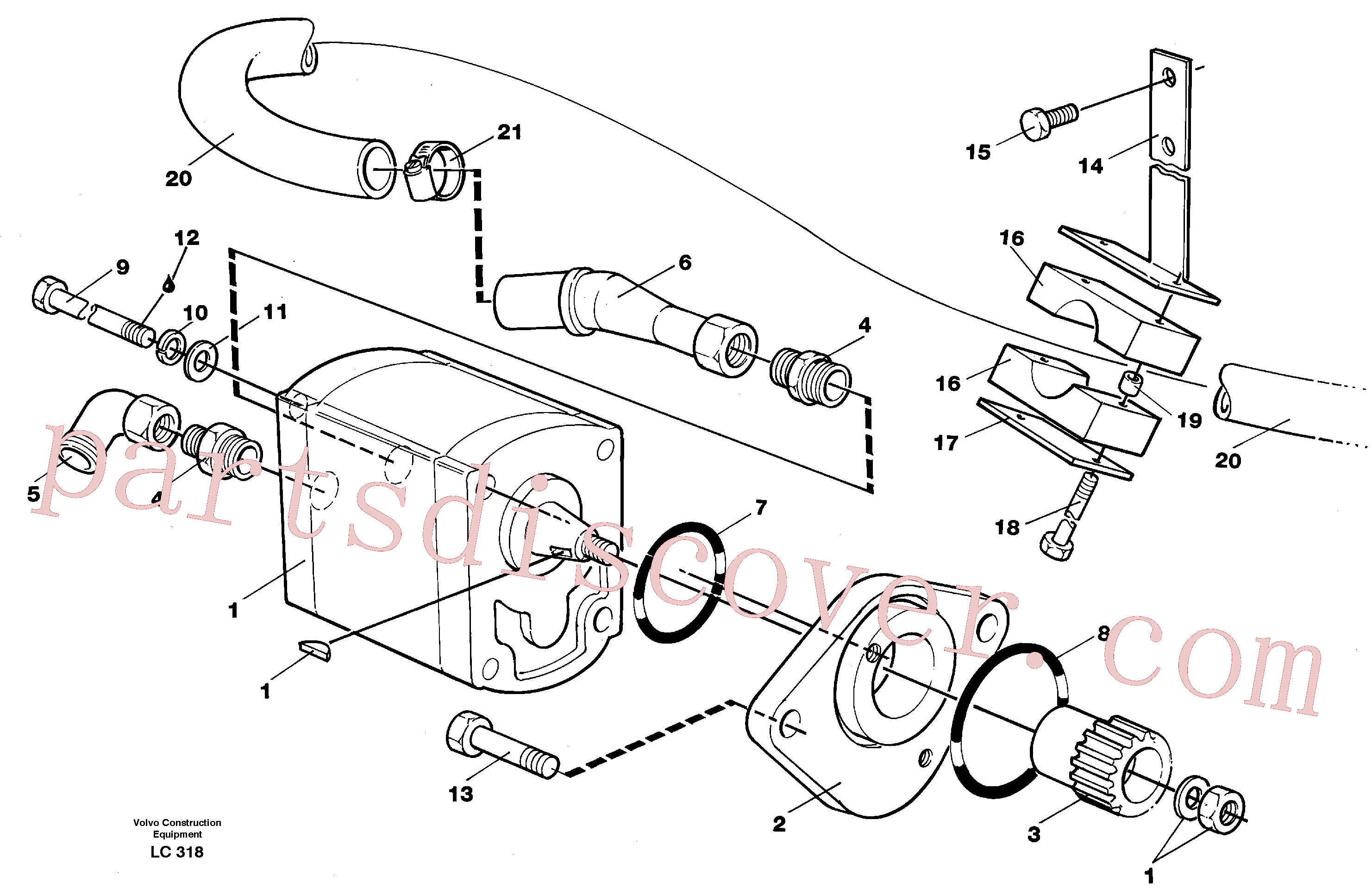 VOE14014886 for Volvo Servo pump with assembly parts(LC318 assembly)