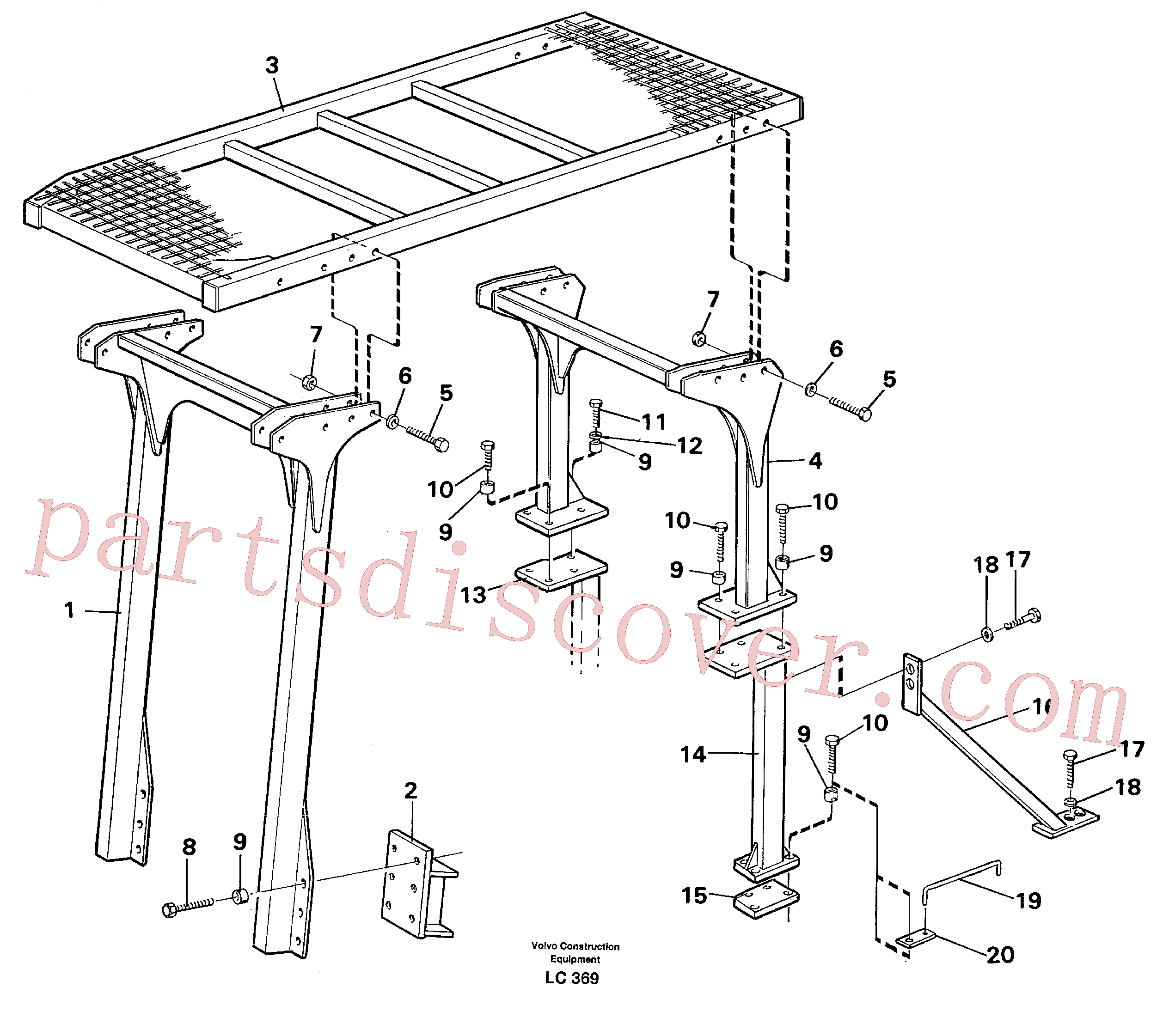 VOE14287029 for Volvo Protection over drivers cab(LC369 assembly)