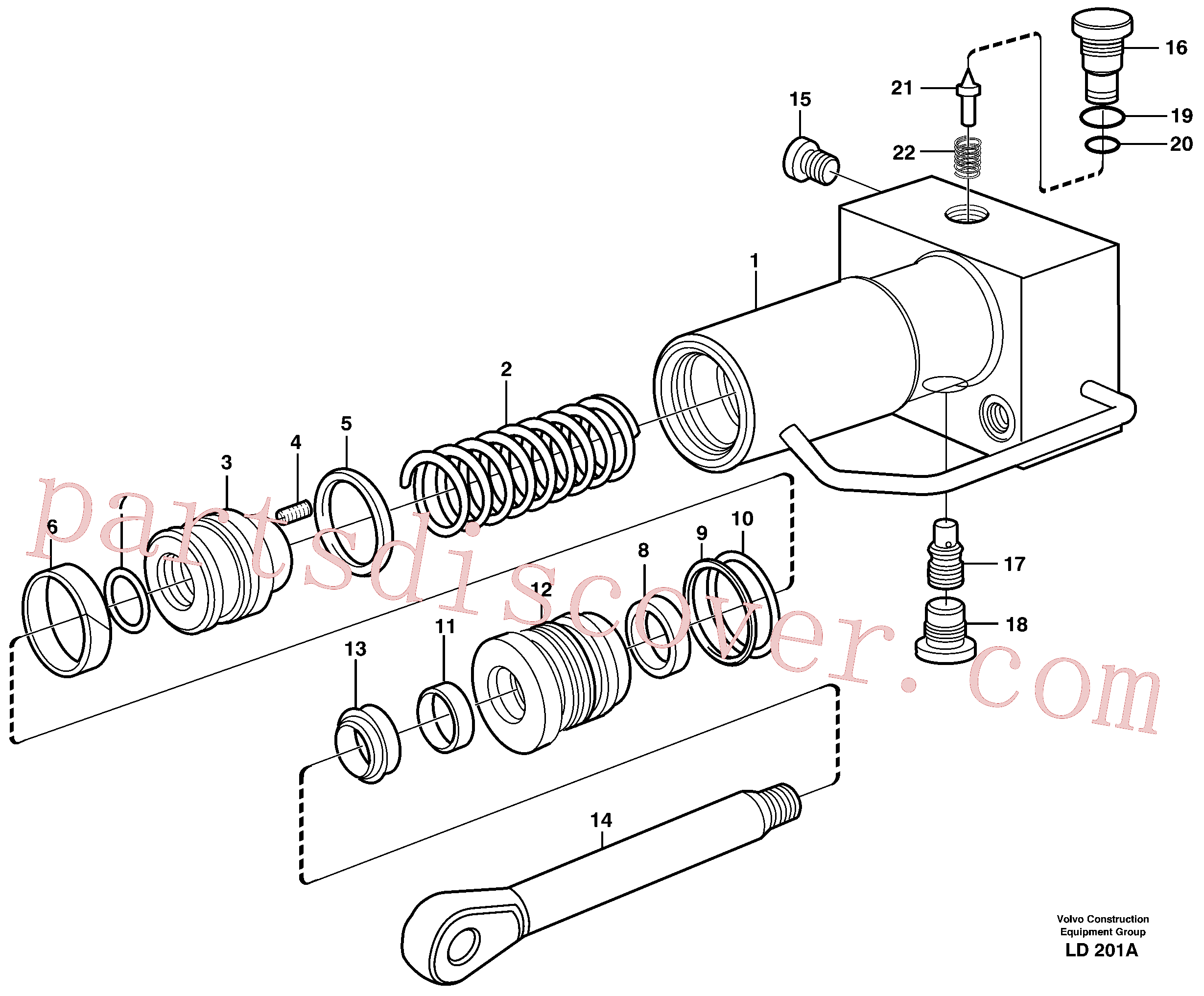 VOE11707594 for Volvo Hydraulic cylinder, quick attachment(LD201A assembly)