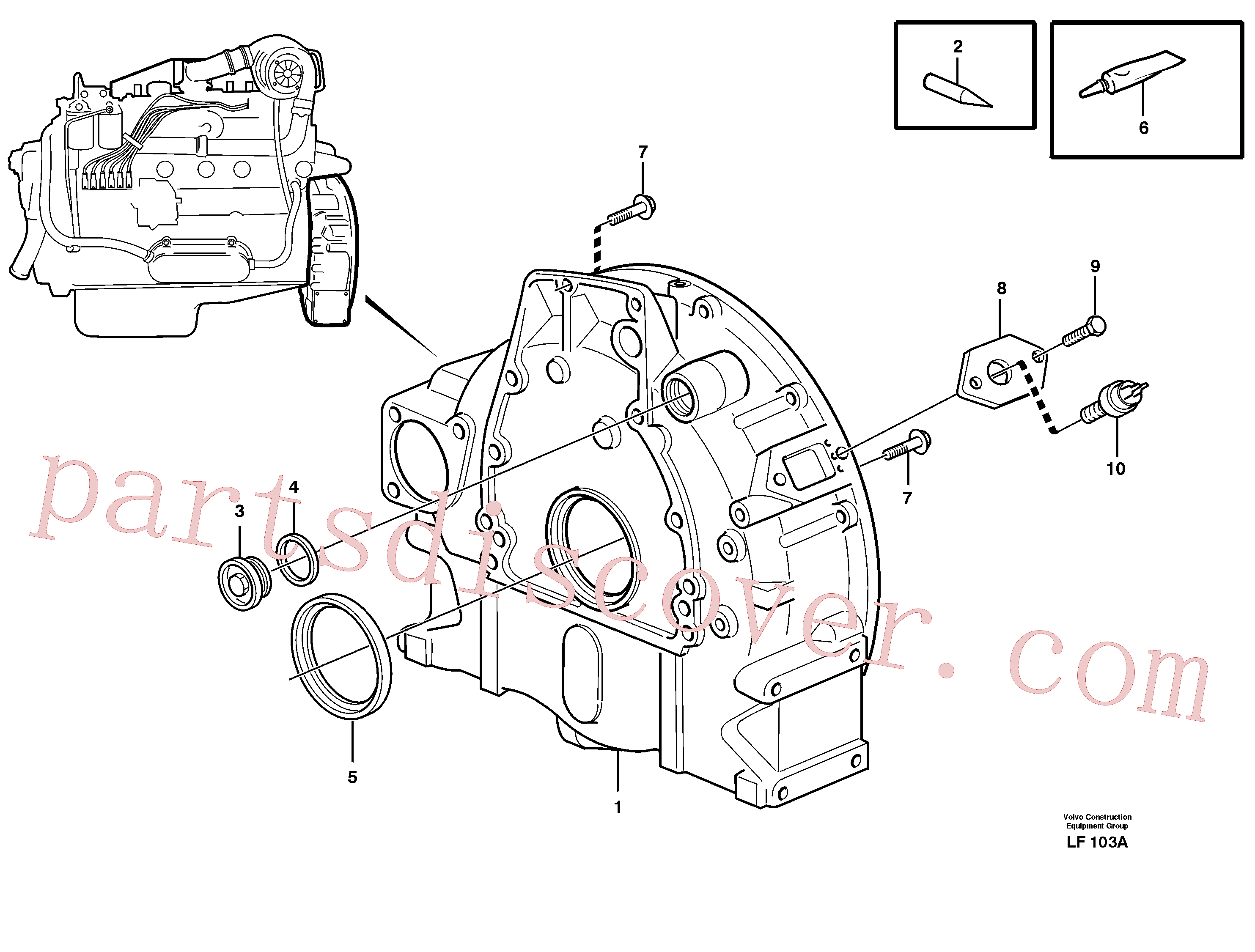 VOE821755 for Volvo Flywheel housing(LF103A assembly)