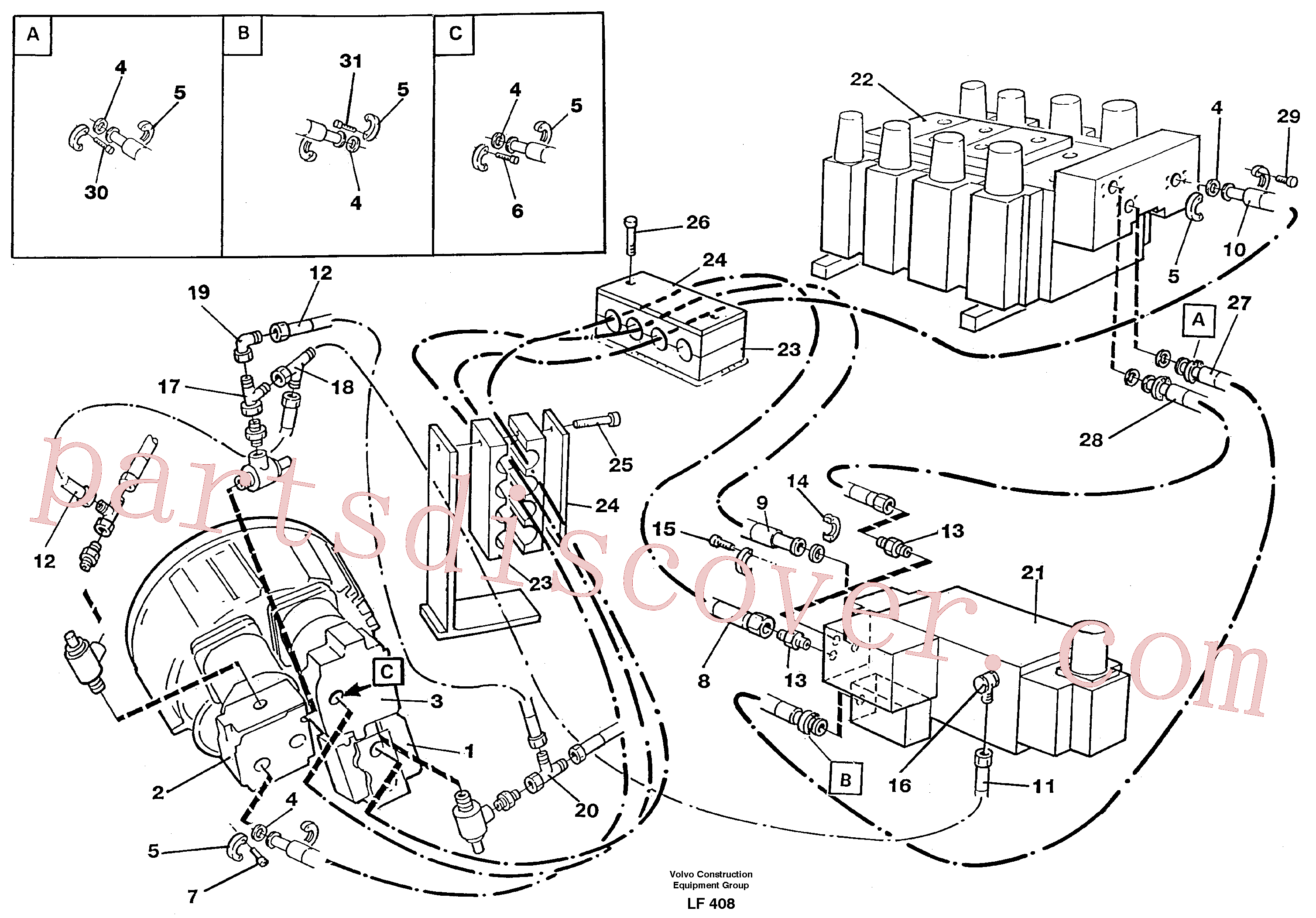 VOE14255688 for Volvo Hydraulic system, feeding lines(LF408 assembly)
