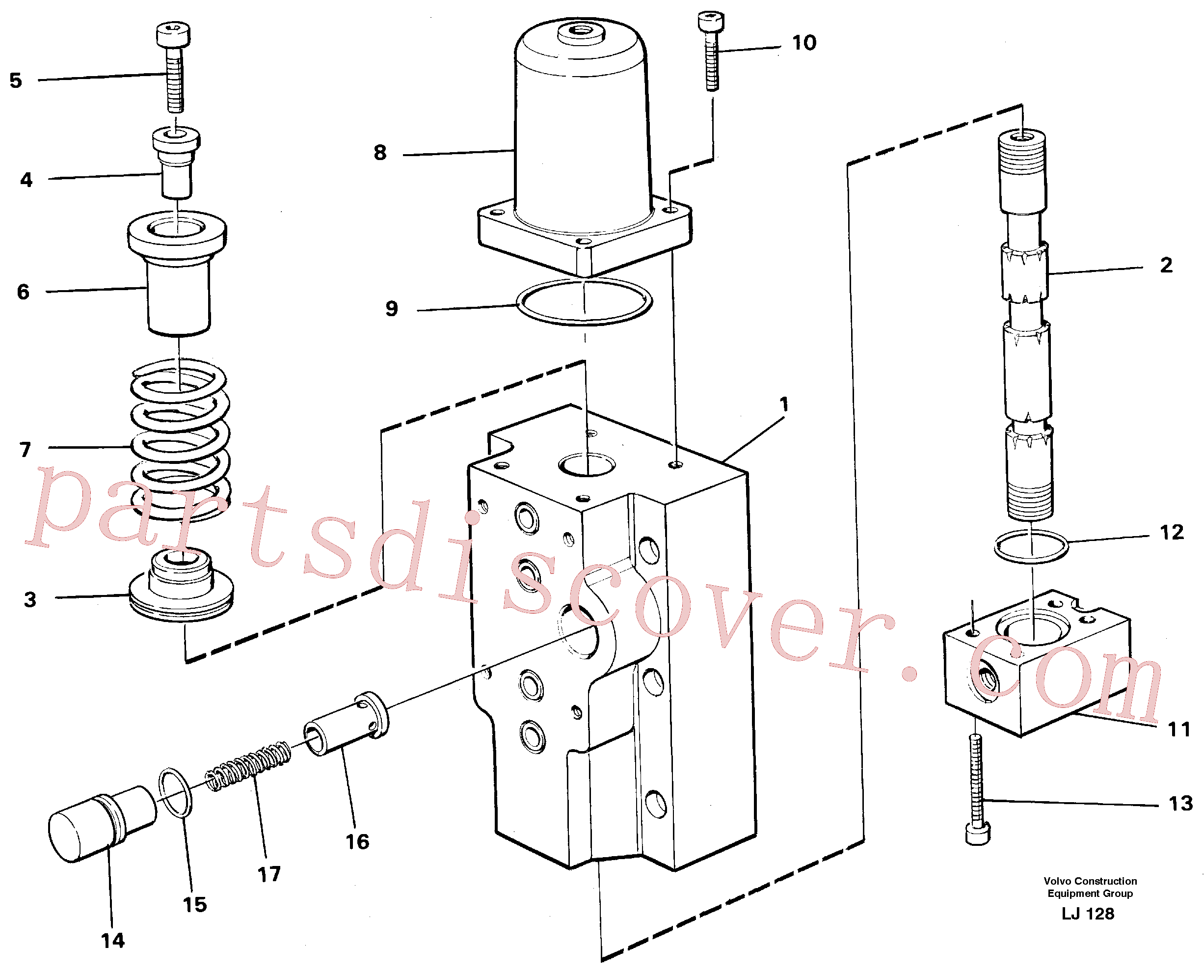 VOE14048551 for Volvo Four-way valves Primary, Four-way valve for hammer/shears(LJ128 assembly)