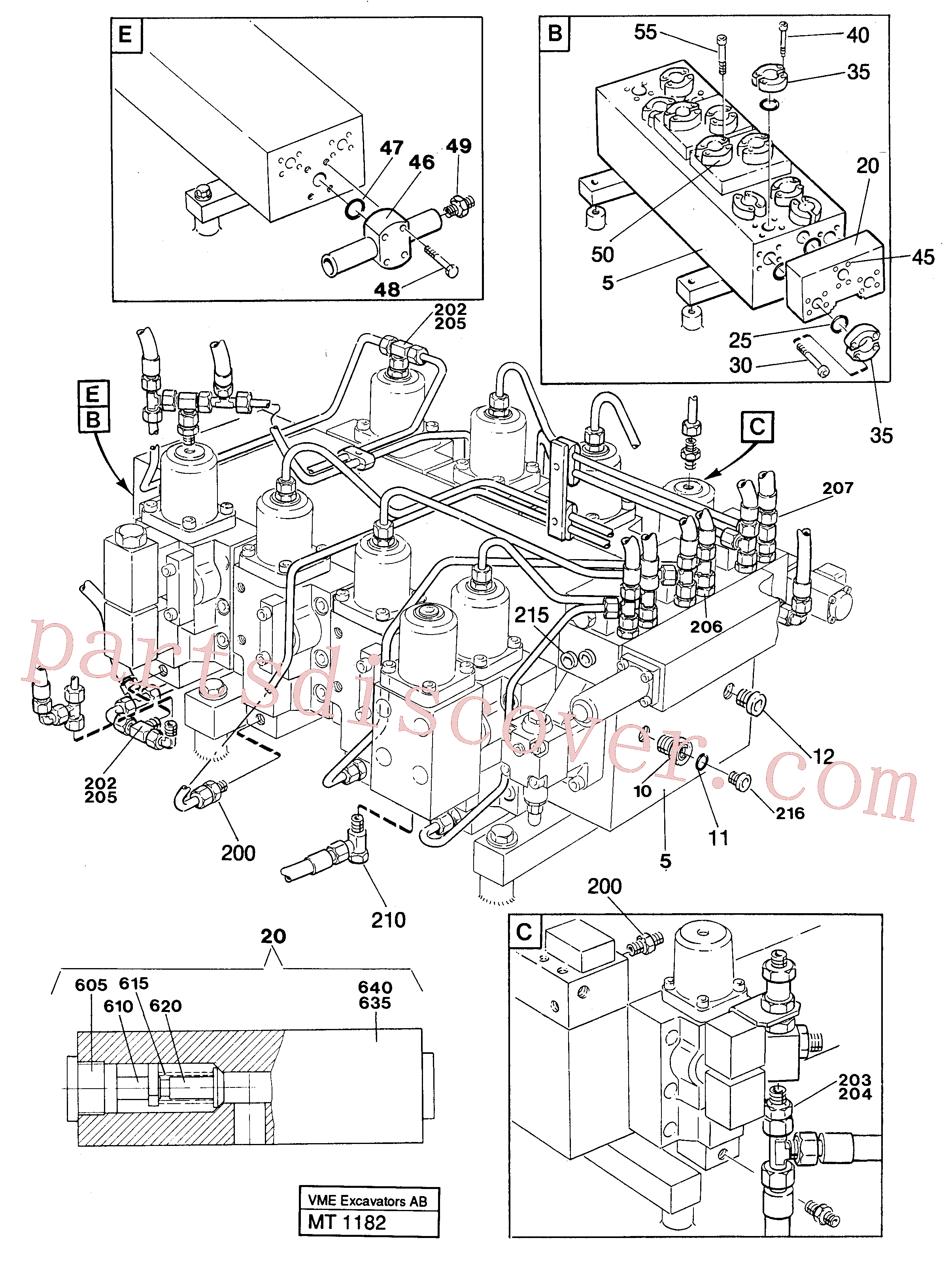 VOE14048189 for Volvo Main valve assembly with connections(MT1182 assembly)