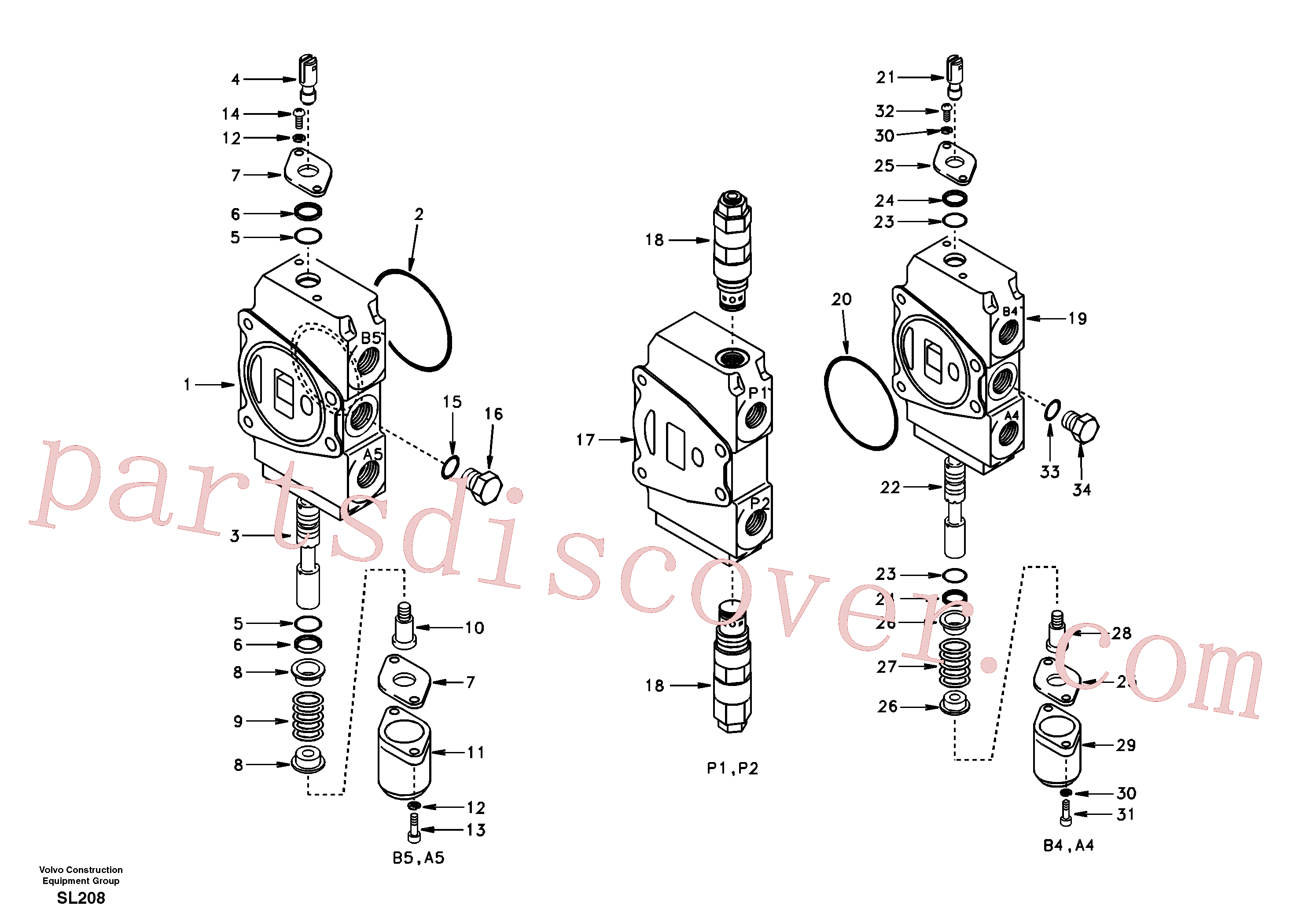 SA7250-21791 for Volvo Main control valve, travel Lh and mid inlet and travel Rh(SL208 assembly)