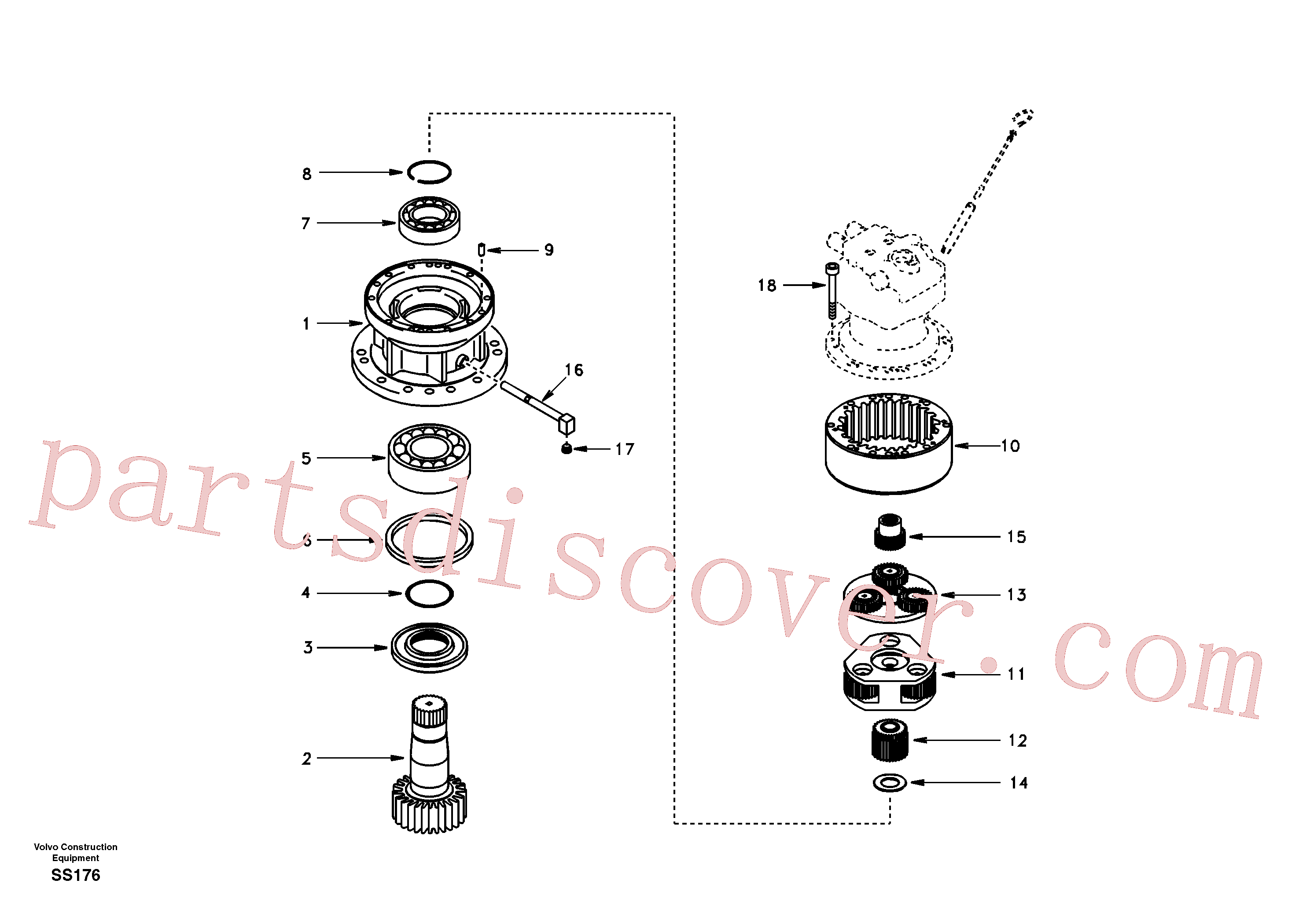 SA7118-23300 for Volvo Swing gearbox(SS176 assembly)