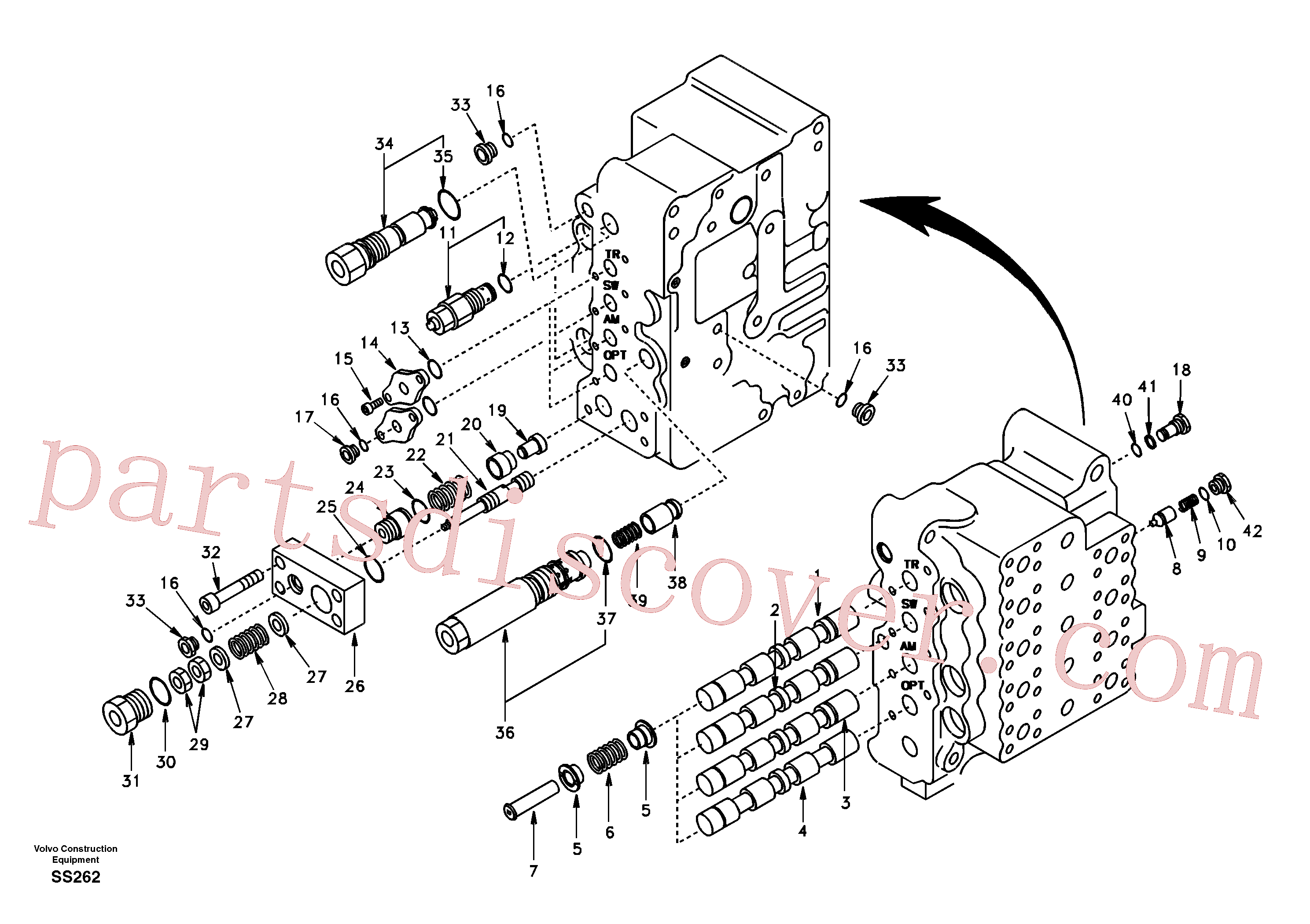 SA7273-11430 for Volvo Main control valve, swing and option and dipper arm and travel Lh(SS262 assembly)