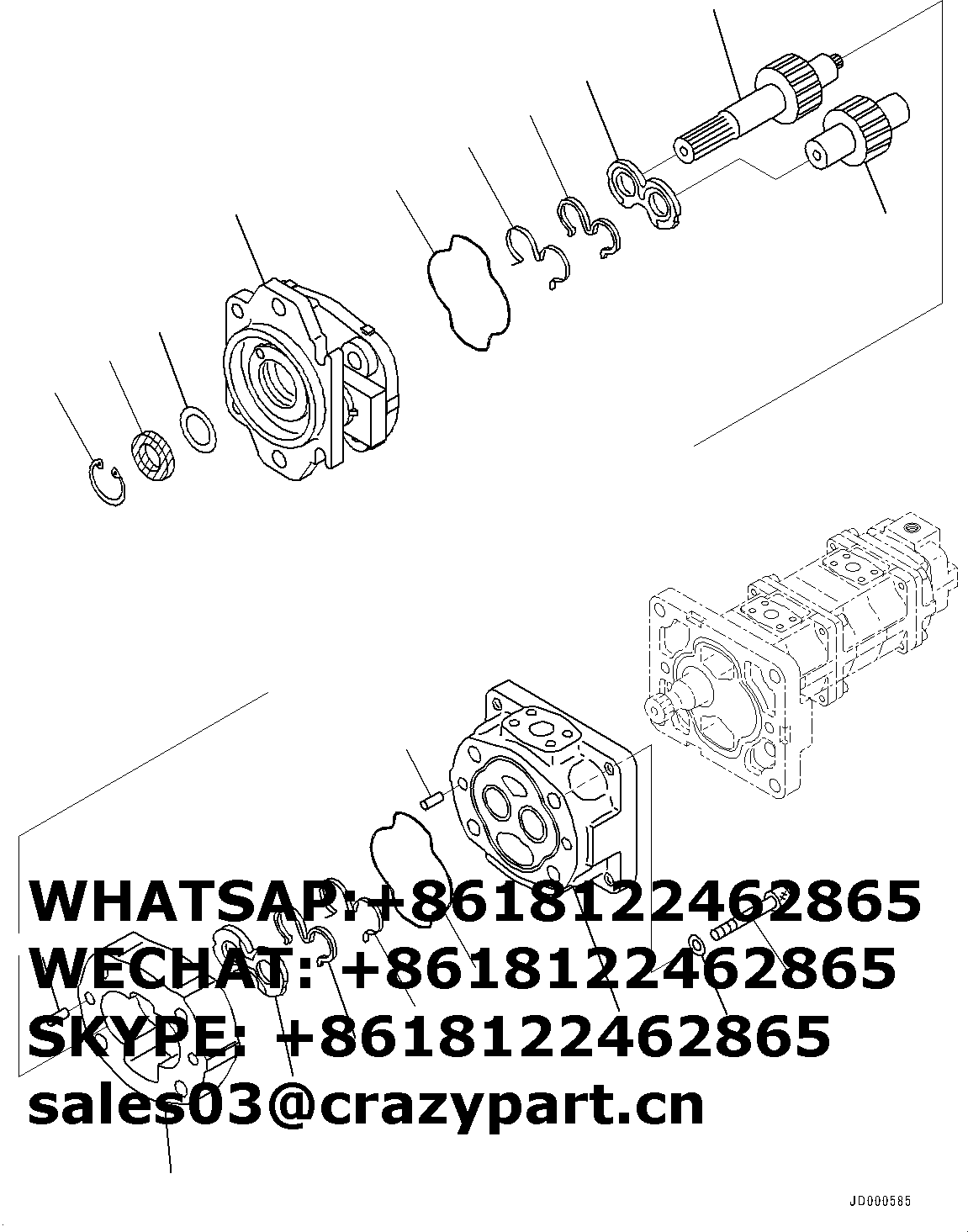 new 705-38-39000 705-56-36051 SAR90+32+SB8+12 hydraulic gear pump WA320-5 WA320-6 loader 4 stage gear pump suitable for KOMATSU